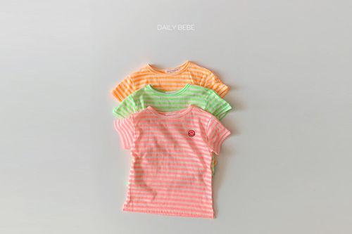 DAILY BEBE - BRAND - Korean Children Fashion - #Kfashion4kids - Stripe Smile Tee