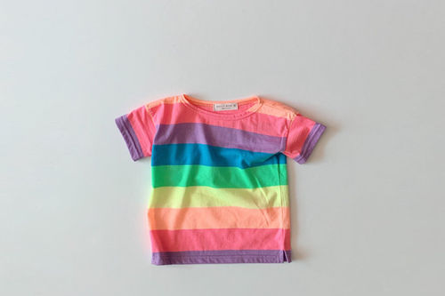 DAILY BEBE - BRAND - Korean Children Fashion - #Kfashion4kids - Rainbow Tee