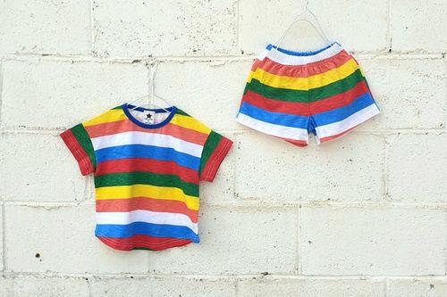 NESTAR - BRAND - Korean Children Fashion - #Kfashion4kids - Rainbow Top Bottom Set