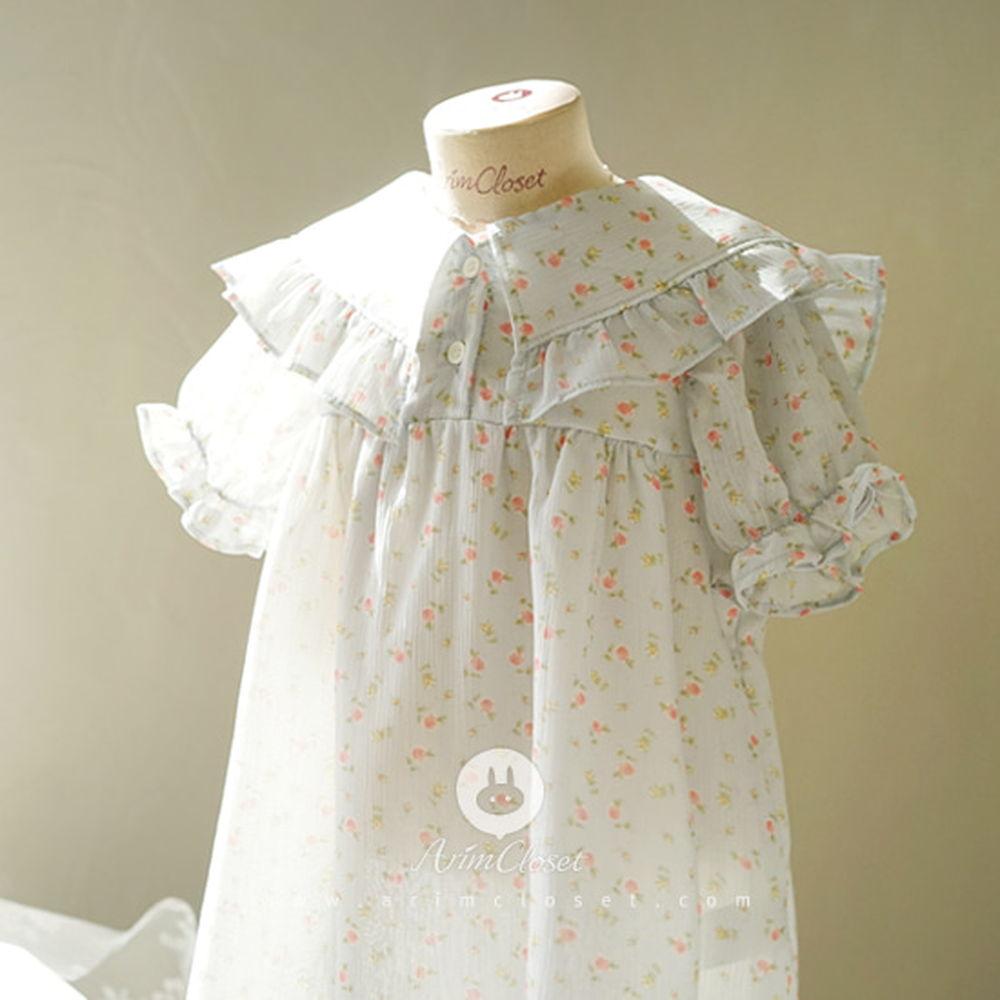 ARIM CLOSET - BRAND - Korean Children Fashion - #Kfashion4kids - Milk Blue Flower Chiffon Sailor Dress