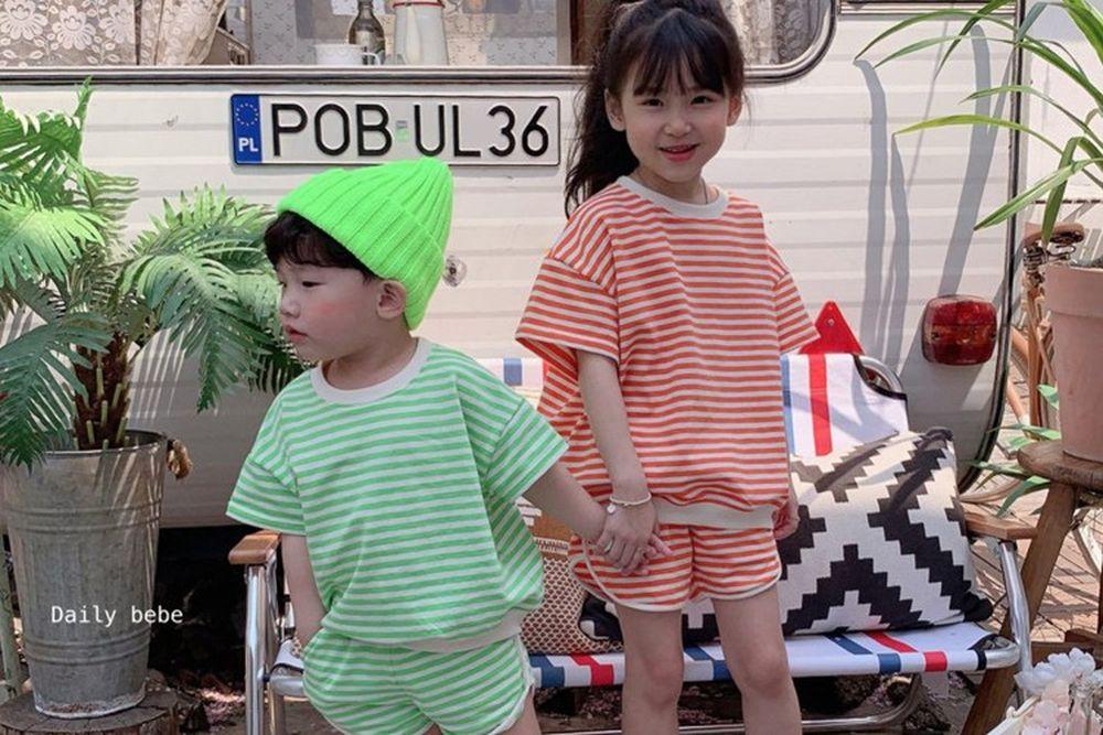 DAILY BEBE - BRAND - Korean Children Fashion - #Kfashion4kids - Stripe Top Bottom Set