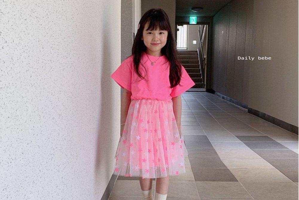 DAILY BEBE - BRAND - Korean Children Fashion - #Kfashion4kids - Neon Star One-piece
