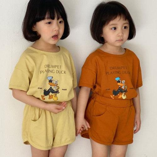 LUNCHPACK - BRAND - Korean Children Fashion - #Kfashion4kids - Dudu Duck Top Bottom Set