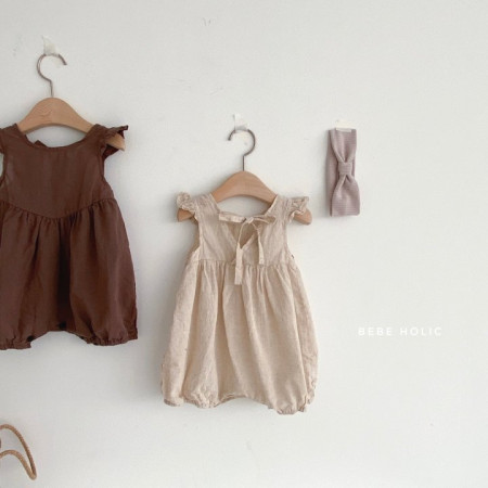 BEBE HOLIC - BRAND - Korean Children Fashion - #Kfashion4kids - Linen Frill Bodysuit