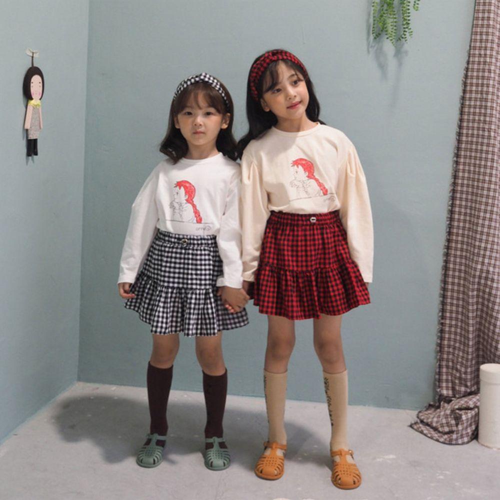 BUBBLE KISS - BRAND - Korean Children Fashion - #Kfashion4kids - Check Cancan Skirt Set-up