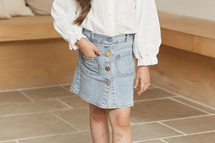 COCO RIBBON - BRAND - Korean Children Fashion - #Kfashion4kids - Smile Denim Skirt