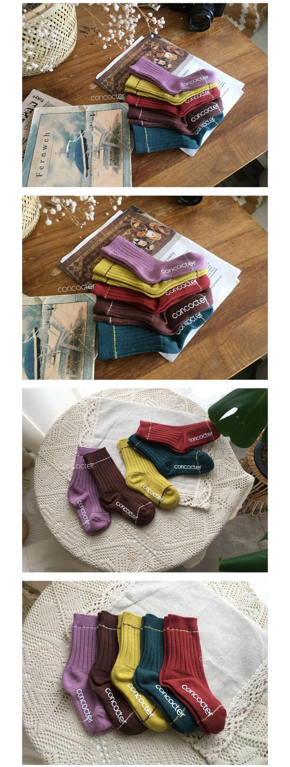 CONCOCTER - Korean Children Fashion - #Kfashion4kids - Tonton Color Socks [set of 4]