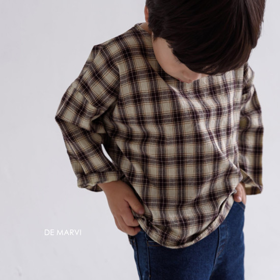 DE MARVI - Korean Children Fashion - #Kfashion4kids - Mim Check Blouse - 5