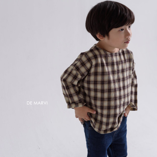 DE MARVI - BRAND - Korean Children Fashion - #Kfashion4kids - Mim Check Blouse