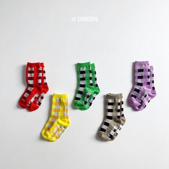 DIGREEN - Korean Children Fashion - #Kfashion4kids - Tone Check Socks [set of 5]