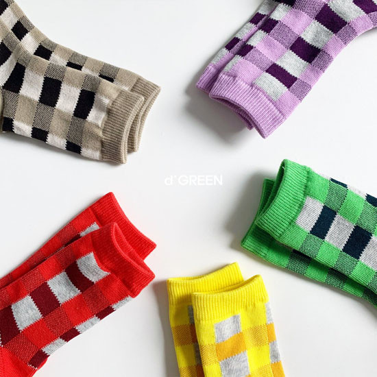 DIGREEN - Korean Children Fashion - #Kfashion4kids - Tone Check Socks [set of 5] - 4