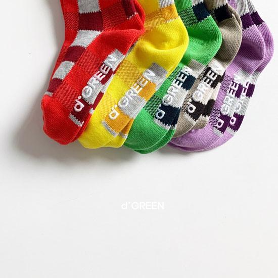 DIGREEN - Korean Children Fashion - #Kfashion4kids - Tone Check Socks [set of 5] - 6