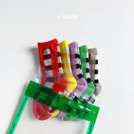 DIGREEN - Korean Children Fashion - #Kfashion4kids - Tone Check Socks [set of 5] - 7