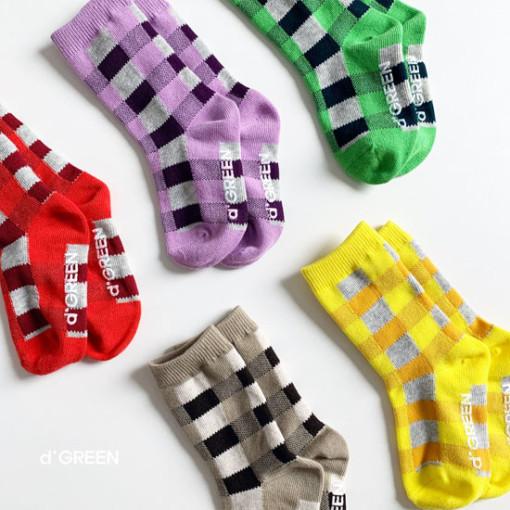 DIGREEN - BRAND - Korean Children Fashion - #Kfashion4kids - Tone Check Socks [set of 5]
