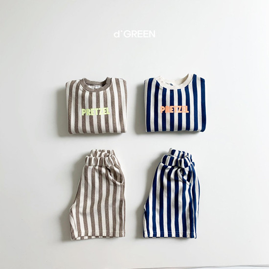 DIGREEN - Korean Children Fashion - #Kfashion4kids - Vertical Lines Top Bottom Set
