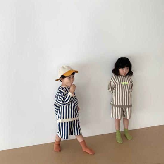 DIGREEN - Korean Children Fashion - #Kfashion4kids - Vertical Lines Top Bottom Set - 11