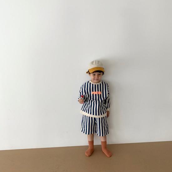 DIGREEN - Korean Children Fashion - #Kfashion4kids - Vertical Lines Top Bottom Set - 12