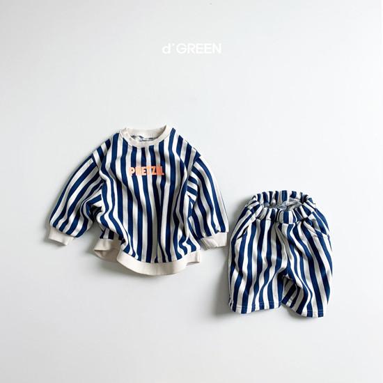 DIGREEN - Korean Children Fashion - #Kfashion4kids - Vertical Lines Top Bottom Set - 4