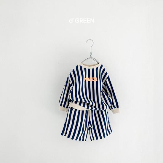 DIGREEN - Korean Children Fashion - #Kfashion4kids - Vertical Lines Top Bottom Set - 6