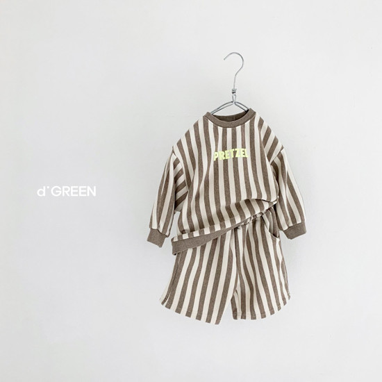 DIGREEN - Korean Children Fashion - #Kfashion4kids - Vertical Lines Top Bottom Set - 7