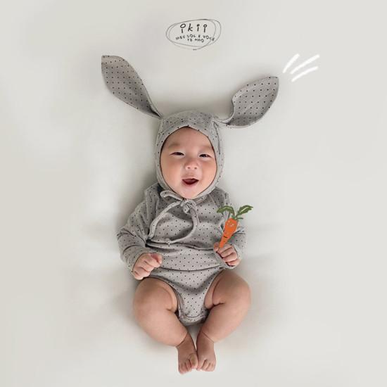 IKII - Korean Children Fashion - #Kfashion4kids - Dot Rabbit Romper with Hat