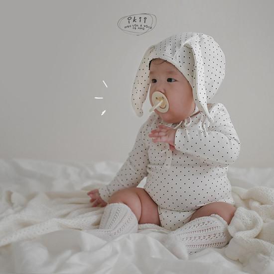 IKII - Korean Children Fashion - #Kfashion4kids - Dot Rabbit Romper with Hat - 10