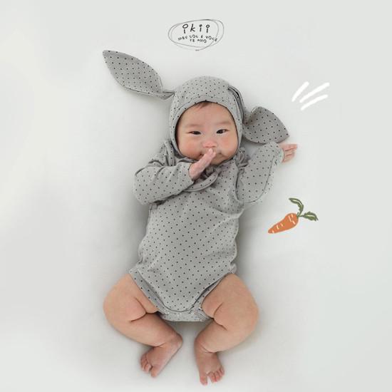 IKII - Korean Children Fashion - #Kfashion4kids - Dot Rabbit Romper with Hat - 12