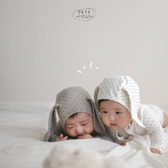 IKII - Korean Children Fashion - #Kfashion4kids - Dot Rabbit Romper with Hat - 4