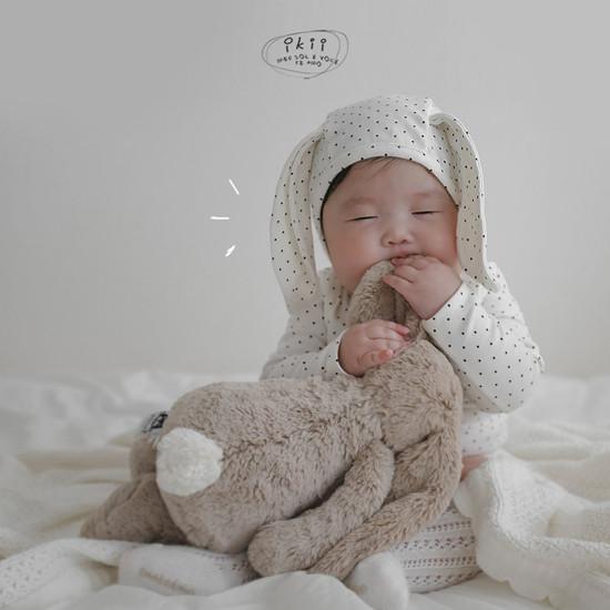 IKII - Korean Children Fashion - #Kfashion4kids - Dot Rabbit Romper with Hat - 5