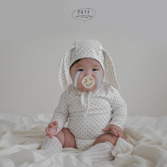 IKII - Korean Children Fashion - #Kfashion4kids - Dot Rabbit Romper with Hat - 7