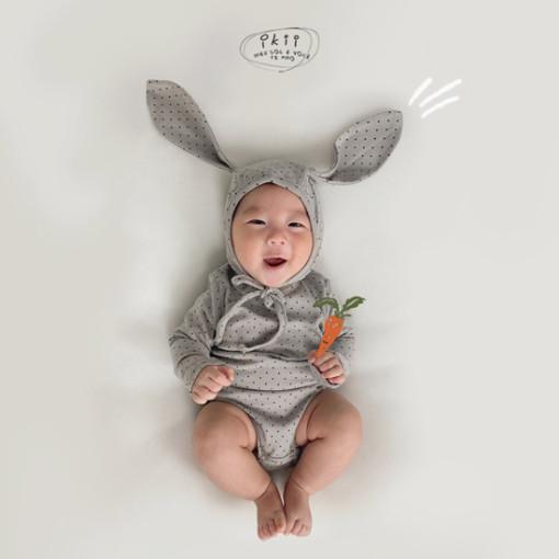 IKII - BRAND - Korean Children Fashion - #Kfashion4kids - Dot Rabbit Romper with Hat