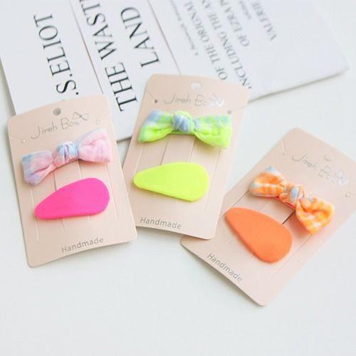 JIREH BOW - BRAND - Korean Children Fashion - #Kfashion4kids - Diva Mix Ribbon Hairpin [set of 2]