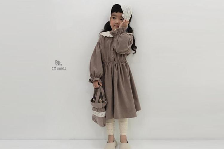 JM SNAIL - BRAND - Korean Children Fashion - #Kfashion4kids - Corduroy Lace Collar One-piece