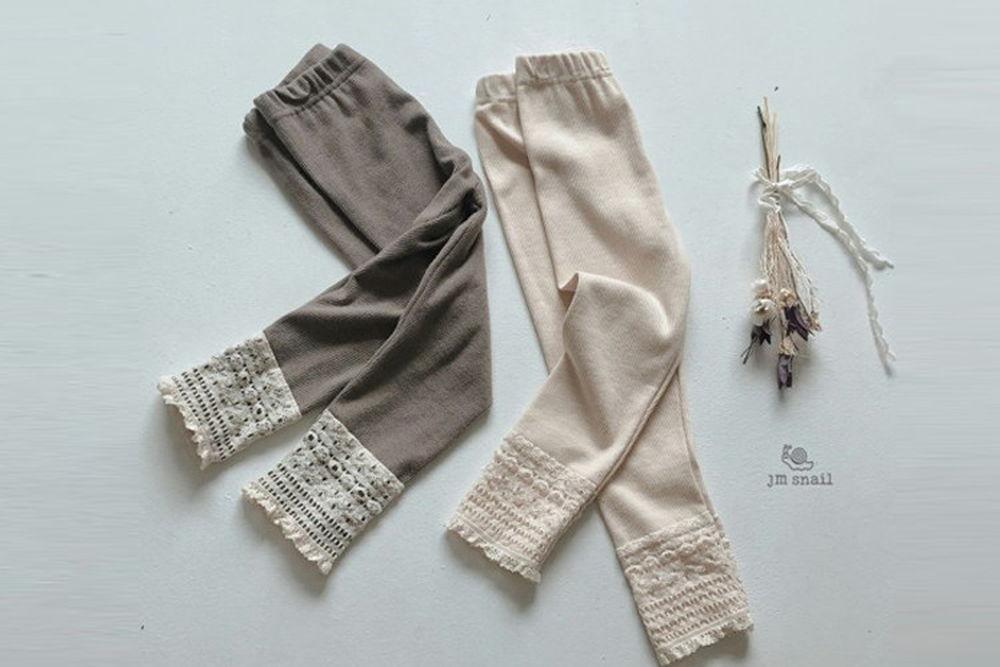 JM SNAIL - BRAND - Korean Children Fashion - #Kfashion4kids - Lace Colored Leggings
