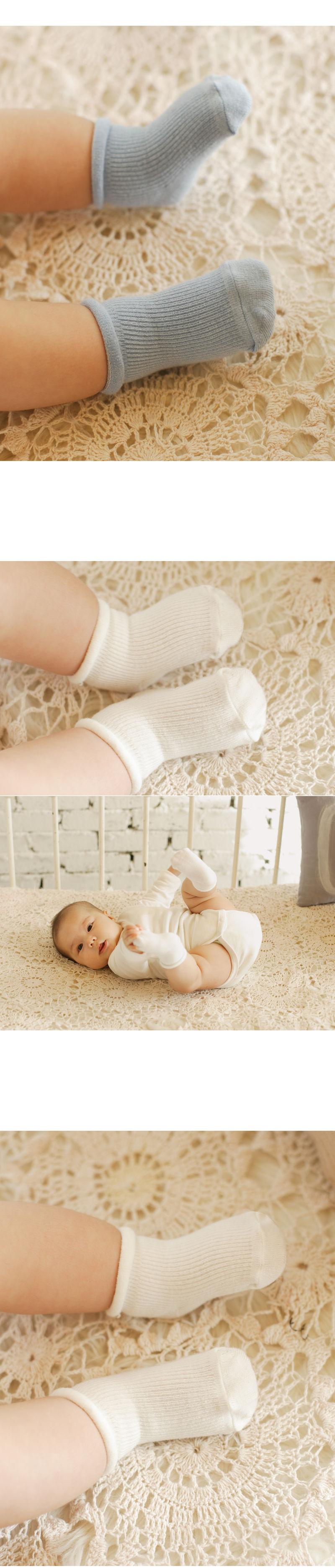 KIDS CLARA - Korean Children Fashion - #Kfashion4kids - Newborn Plain Socks Prince Set [set of 5] - 2
