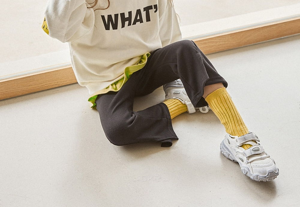 LILAS - Korean Children Fashion - #Kfashion4kids - Diagnol Slit Bootscut Pants