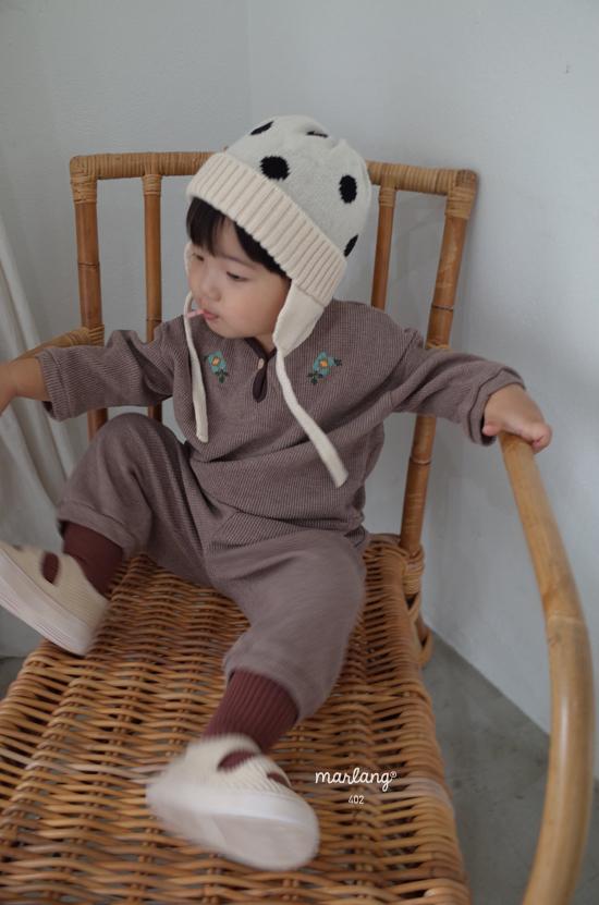 MELONSWITCH - Korean Children Fashion - #Kfashion4kids - Waffle Embroidery Top Bottom Set