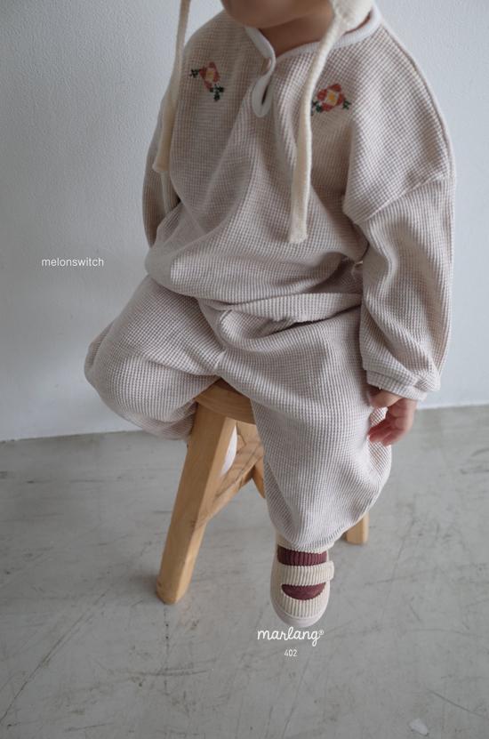 MELONSWITCH - Korean Children Fashion - #Kfashion4kids - Waffle Embroidery Top Bottom Set - 10