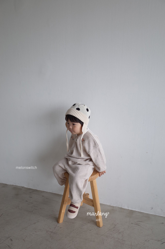 MELONSWITCH - Korean Children Fashion - #Kfashion4kids - Waffle Embroidery Top Bottom Set - 11
