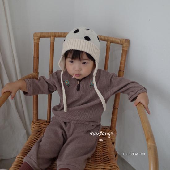 MELONSWITCH - Korean Children Fashion - #Kfashion4kids - Waffle Embroidery Top Bottom Set - 2