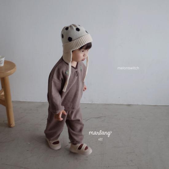 MELONSWITCH - Korean Children Fashion - #Kfashion4kids - Waffle Embroidery Top Bottom Set - 3