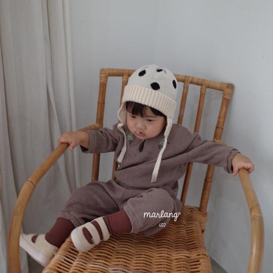 MELONSWITCH - Korean Children Fashion - #Kfashion4kids - Waffle Embroidery Top Bottom Set - 5