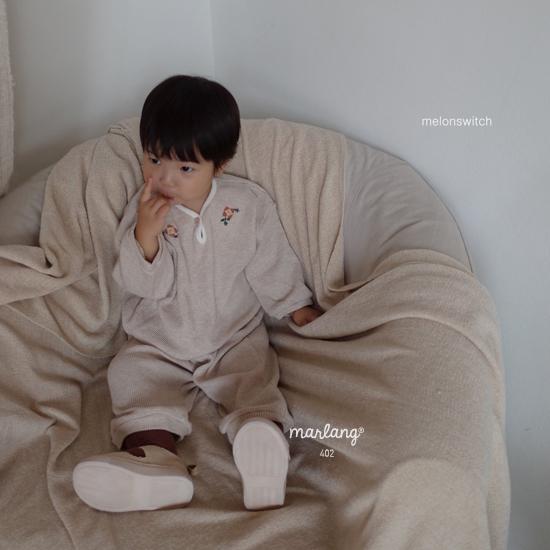 MELONSWITCH - Korean Children Fashion - #Kfashion4kids - Waffle Embroidery Top Bottom Set - 7