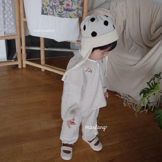 MELONSWITCH - Korean Children Fashion - #Kfashion4kids - Waffle Embroidery Top Bottom Set - 8