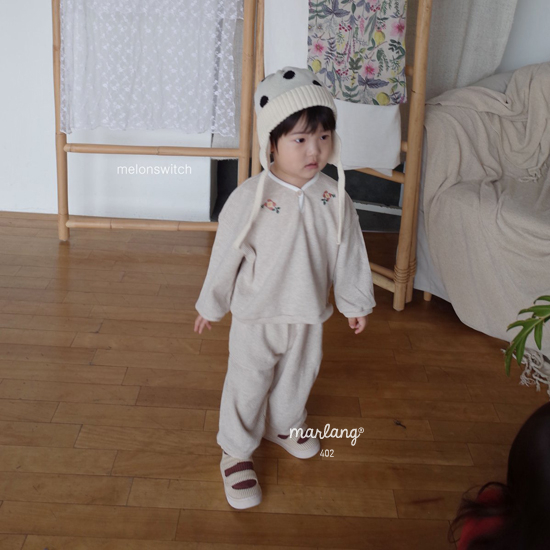 MELONSWITCH - Korean Children Fashion - #Kfashion4kids - Waffle Embroidery Top Bottom Set - 9