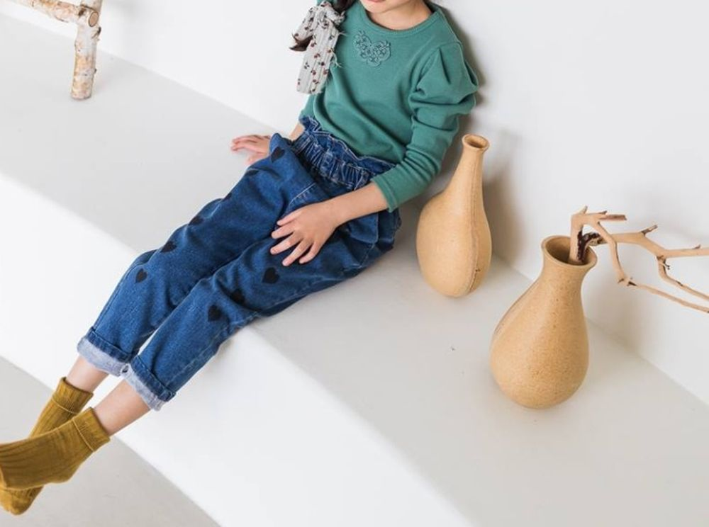 MILK POWDER - Korean Children Fashion - #Kfashion4kids - Heart Denim Pants