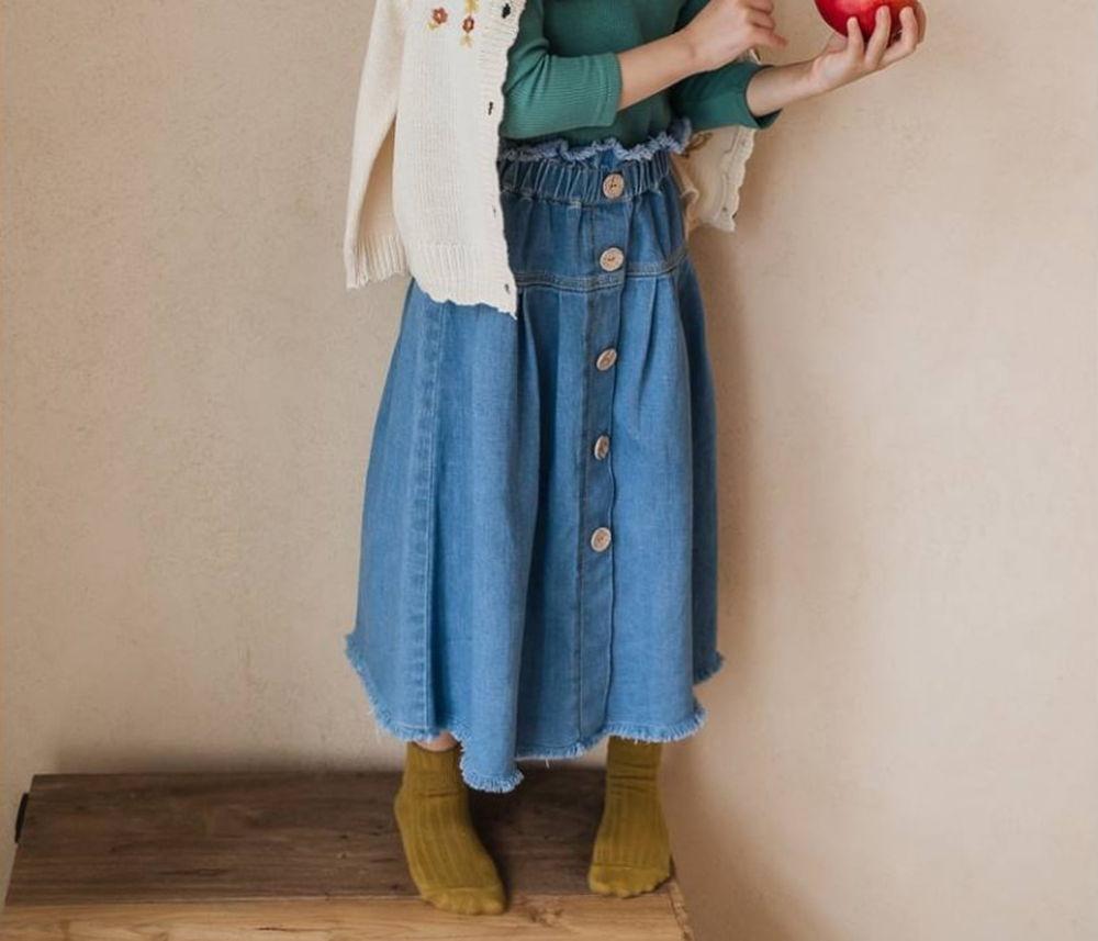 MILK POWDER - Korean Children Fashion - #Kfashion4kids - Button Denim Skirt