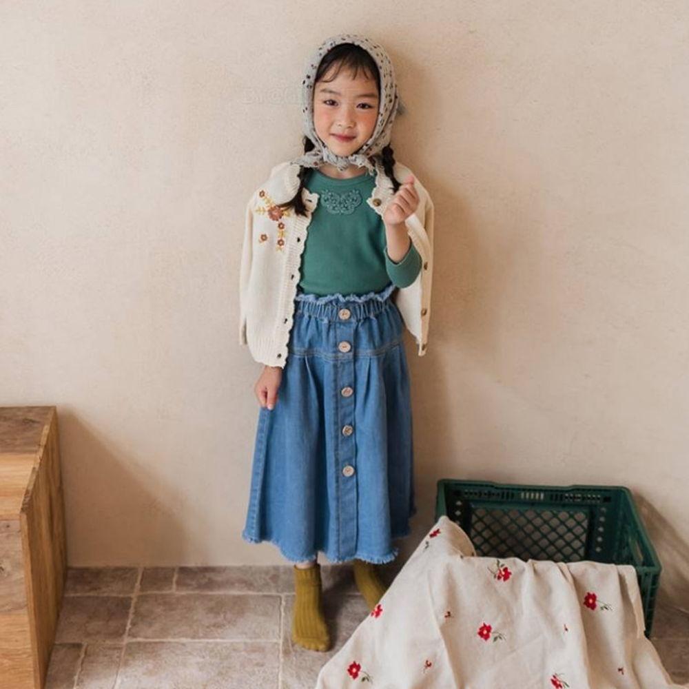 MILK POWDER - BRAND - Korean Children Fashion - #Kfashion4kids - Button Denim Skirt