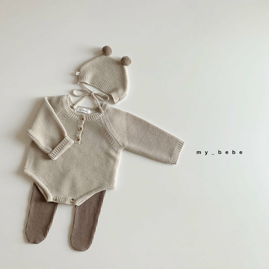 MY BEBE - Korean Children Fashion - #Kfashion4kids - Pompom Bodysuit with Hat - 6