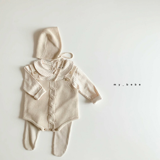 MY BEBE - Korean Children Fashion - #Kfashion4kids - Twist Knit Bodysuit with Hat - 11